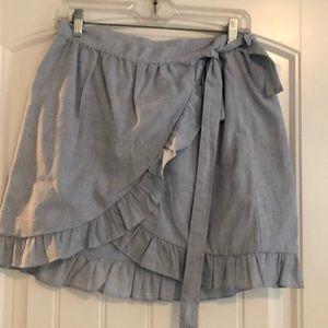 Madewell chambray wrap skirt.